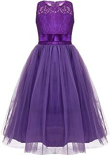 6e942cb0f MSemis Vestido Tutú Princesa Boda para Niñas Vestidos Ceremonia Fiesta  Encaje Bowknot Traje Elegante Gala Comunión