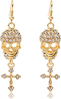 Gothic Jewelry Skull Cross Drops Sparkly Big Chandelier Earrings for Women
