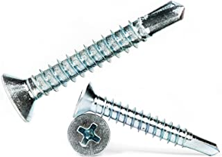 4.2mm x 25mm Self Drilling Countersunk Screws Steel Self Tapping Screws for Metal Sheets Roofing Windows (Pack of 50)