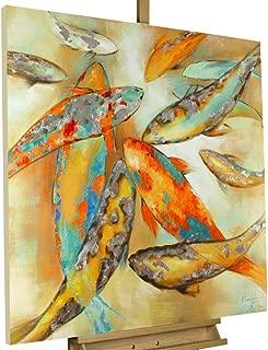 Kunstloft® Cuadro acrílico 'El koi' 80x80cm | Original Pintura XXL Pintado a Mano en Lienzo | Carpas y Peces koi de Colores sobre Beige | Mural acrílico de Arte Moderno en una Pieza con Marco
