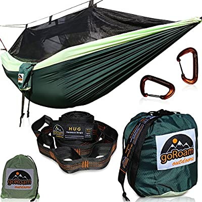 GoRoam Outdoors Single Parachute Camping Hammock with Mosquito Net, XL 10ft Loop Tree Straps & Carabiners. Premium Quality Lightweight & Durable 210T Nylon - Perfect for Hiking, Backpacking & Travel