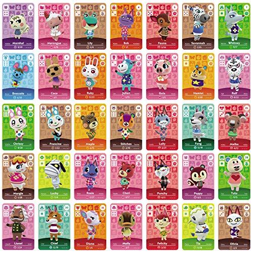 TPLGO 35 Stück NFC-Tag-Spielkarten für Animal Crossing New Horizons für Nintendo Switch / Switch Lite / Wii U mit durchsichtigem Kunststoffgehäuse