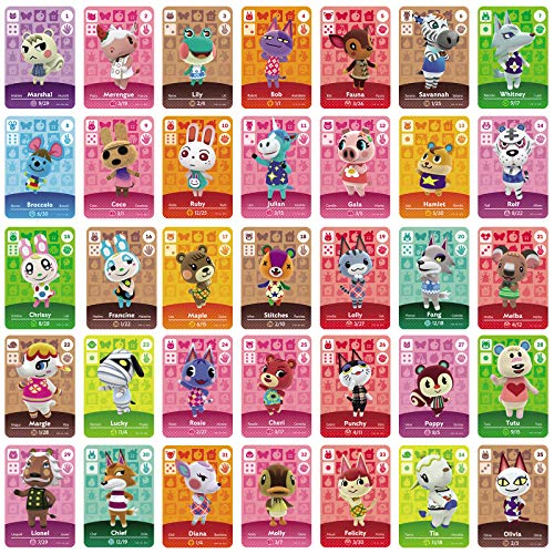 TPLGO 26 Pz ACNH NFC Tag Mini Gioco Carte Rare Personaggio Villico per New Horizons, Carte da Gioco Serie 1-4 per Switch / Switch Lite / Wii U / New 3DS con custodia