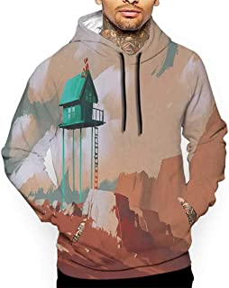 Hoodies Sweatshirt Autumn Winter Fantasy,Little Wood House on Stone Hill with Robot on The Cloudy Roof Calming Artwork Print,Tan Green Sweatshirts for Women Hanes