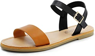 f3919abda52a SANDALUP Women s Soft Faux Leather Open Toe and Ankle Strap Buckle Flat  Sandals