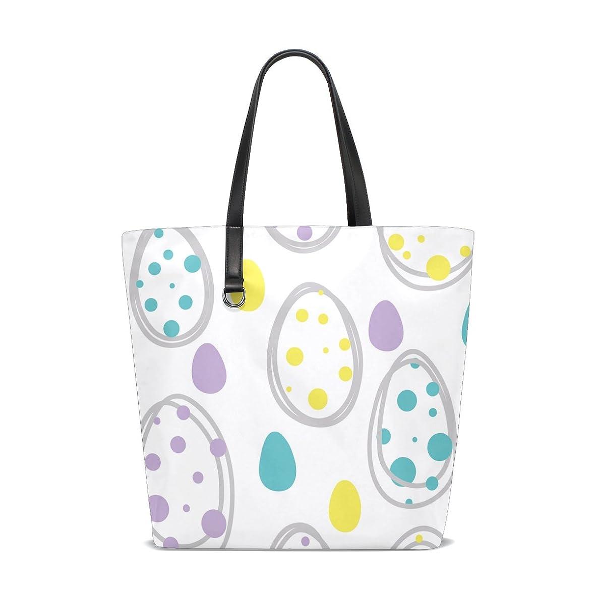 貧困財布同等のトートバッグ かばん ポリエステル+レザー  イースターエッグ柄 可愛い 両面使える 大容量 通勤通学 メンズ レディース
