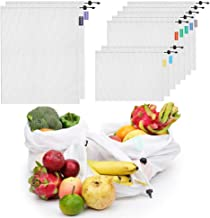 MATOW Reusable Produce Bags, Set of 9, Lightweight Washable See Through Premium Mesh Bags for Fruit, Vegetable Shopping an...