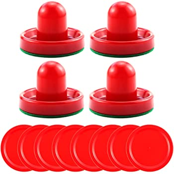 Bignc Light Weight Air Hockey Pushers Red Replacement Pucks (4 Striker, 8 Puck )