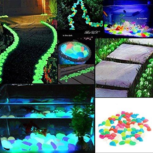 200 Stück Leuchtsteine nachtleuchtende Steine leuchtende Kiesel Aquarium Garten Deko
