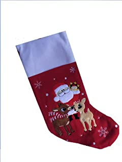 Soft Rudolph The Red Nosed Reindeer Embroidered Applique Stocking 18in Featuring Clarice & Santa