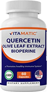 Vitamatic Quercetin, Olive Leaf Extract, with Bioperine for Greater Absorption, Immune Support - 910 mg, 60 Capsules