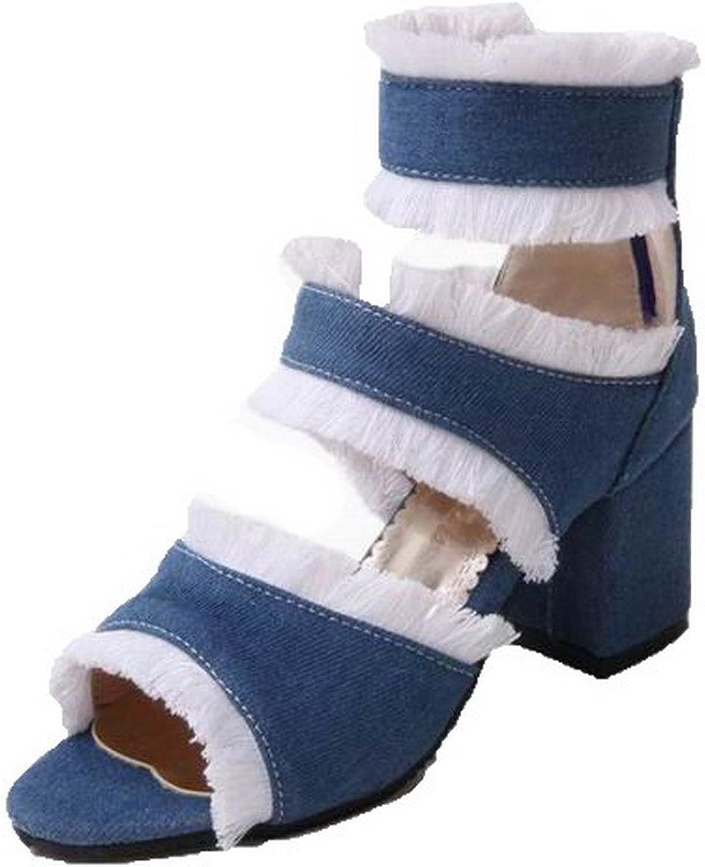 AmoonyFashion Women's Blend Materials High-Heels Open-Toe Solid Zipper Sandals, BUTLT007023