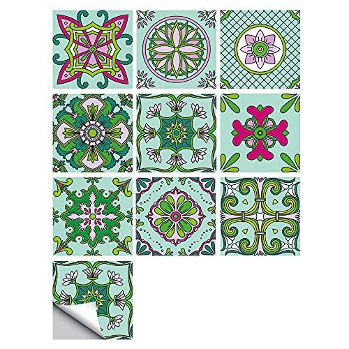 Pegatinas de azulejos impermeables para pared, autoadhesivas, retro, para decoración de muebles de cocina, baño, 10 cm x 10 cm x 10 cm x 10 unidades