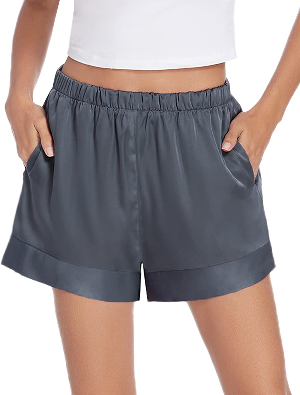 Ekouaer Women Satin Shorts Silk Pajama Bottoms Silky Sleep Shorts Elastic Waist Sleep Boxer Shorts with Pockets S-XXL