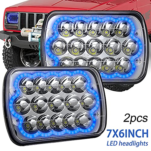 CO LIGHT Pair 7x6 5x7inchs LED Headlights Blue Halo Angel Eyes Sealed Beam Hi Lo H6054 H5054 H6014 69822 6052 6053 for XJ YJ Cherokee E250