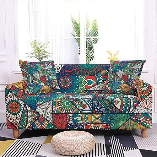 HUITAILANG Elastisch Sofabezug Bohemian Printed Couch Cover 1-Teilig, Elastic Armchair Universal Möbel Protector, Bunte Pet Dog Protector Für Wohnzimmer Dekor, Blau, Klein