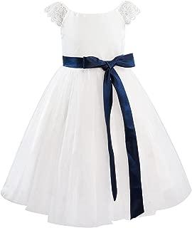 Dresslane Ivory Lace Tulle Cap Sleeves Flower Girl Dress Kids Dress/Navy Blue Sash