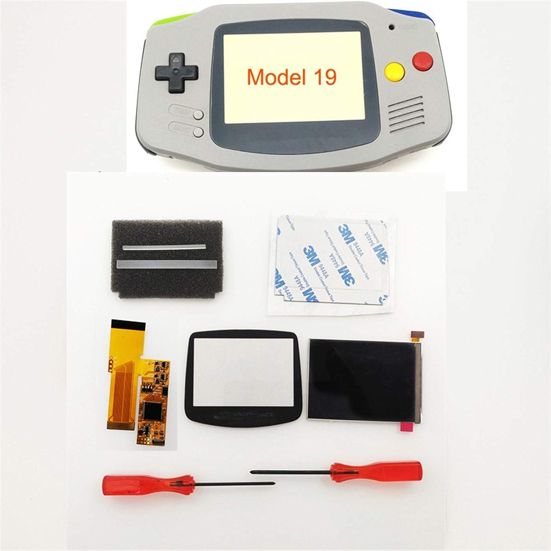 ZHANGSUYUAN DIY IPS GBA LCD-scherm 10 niveaus High Brightness Backlight Fit For Nintend Gameboy Advance Console V2 Versie Met Pre-cut Housing (Color : Glacier) Black
