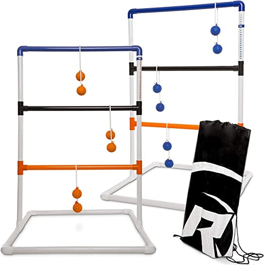 Rally and Roar Classic Ladder Ball Outdoor Toss Game - Complete Set with 2 Targets, 6 Rubber Bolas, Travel Case and Built-In Scoreboard