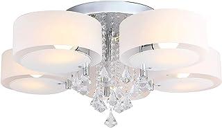 Lámpara de techo de cristal con 5 focos y mando a distancia con 5 bombillas LED E27