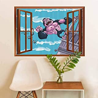Cartoon Decor Privacy Glass Stickers King Kong Hanging on a Building Fantasy Fiction Gorilla Children Illustration Window Creative Wall Decor W12xL18 INCH