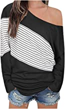 Women's Long Sleeve T-Shirt Off Shoulder Casual Pullover Bat Sleeve Loose Top