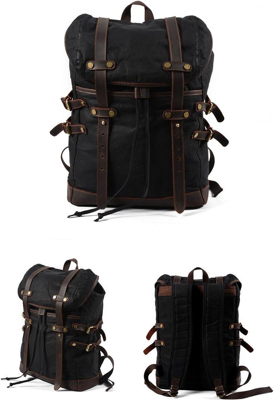 Canvas Men's Bag Casual Backpack Men's Waterproof Outdoor Travel Bagcamping (color   B)