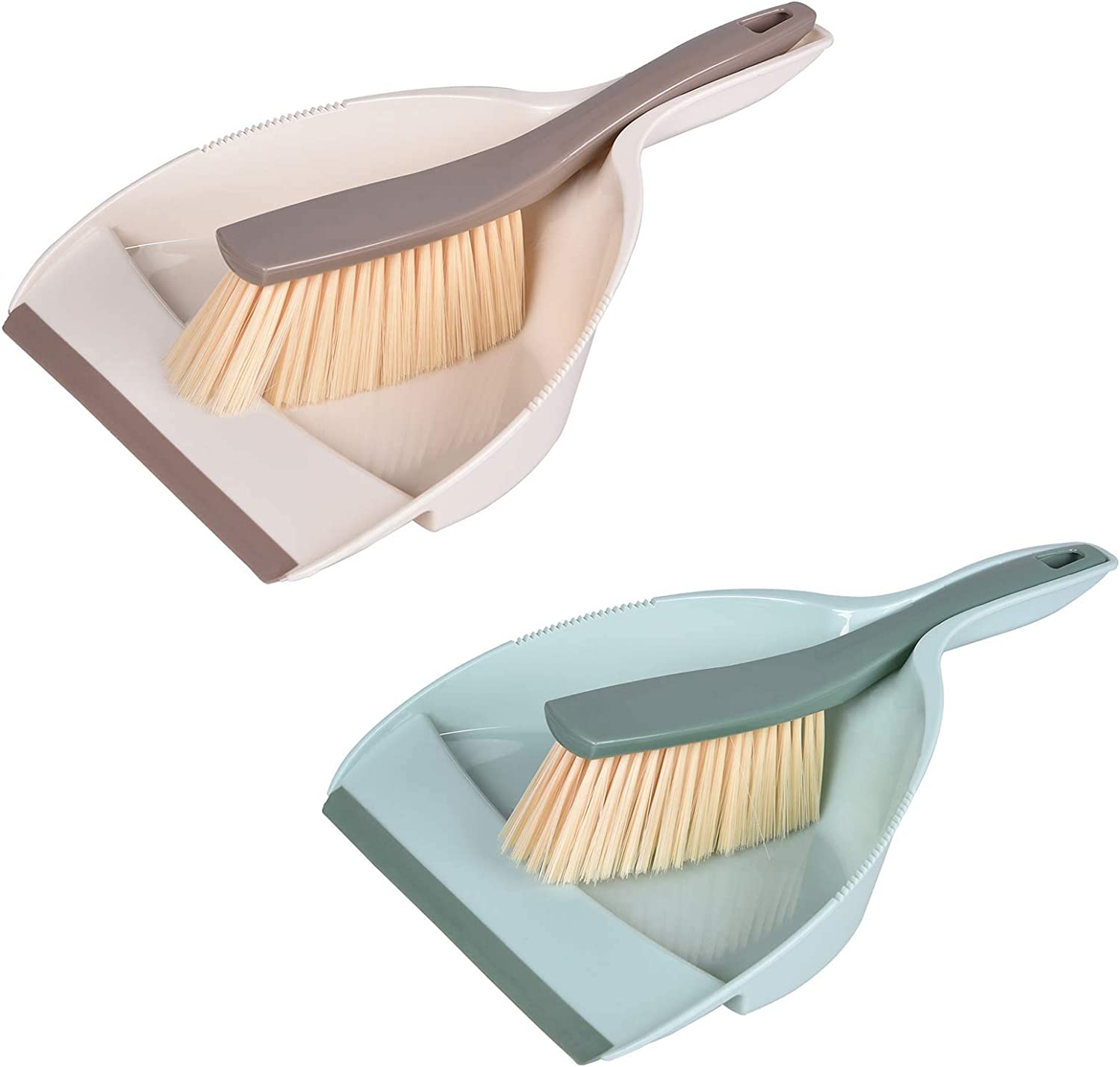 Mini Hand Dustpan and Brush, Multi-Functional Portable Snap-on Dustpan Set, Cleaning Tool for Floor, Desk, Sofa, Car 2-Pack Green and Beige : Health & Household