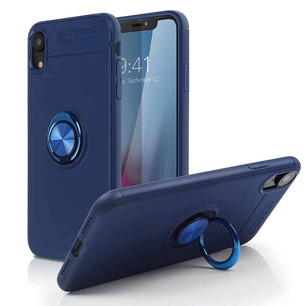 iPhone Xs Case,iPhone X Case,SQMCase Heavy Duty Durable Soft TPU Protective Case with 360 Degree Rotation Ring Kickstand [Work with Magnetic Car Mount] for Apple iPhone Xs/X - Blue