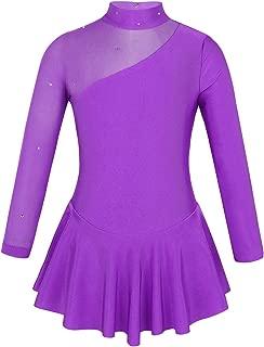Kids Girls Figure Ice Skating Dress Long Sleeve Splice Cutout Back Roller Skating Ballet Dance Dress Tutu Skirted