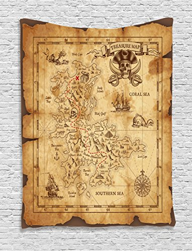 Ambesonne Map Tapestry Island Decor, Super Detailed Treasure Map Grungy Rustic Pirates Gold Secret Sea History Theme, Wall Hanging Art for Bedroom Living Room Dorm, 40 x 60 Inches, Beige and Brown
