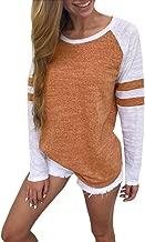 KIKOY Womens Baseball Tee Long Sleeve Shirt O Neck Striped Girls Casual Blouses