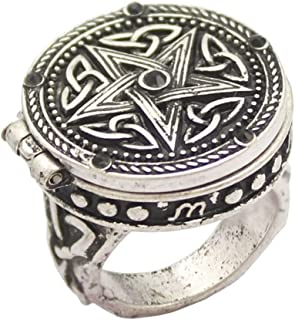 Anello in argento anticato gotico tribale celtico trinità nodo stella intagliato cristallo nero