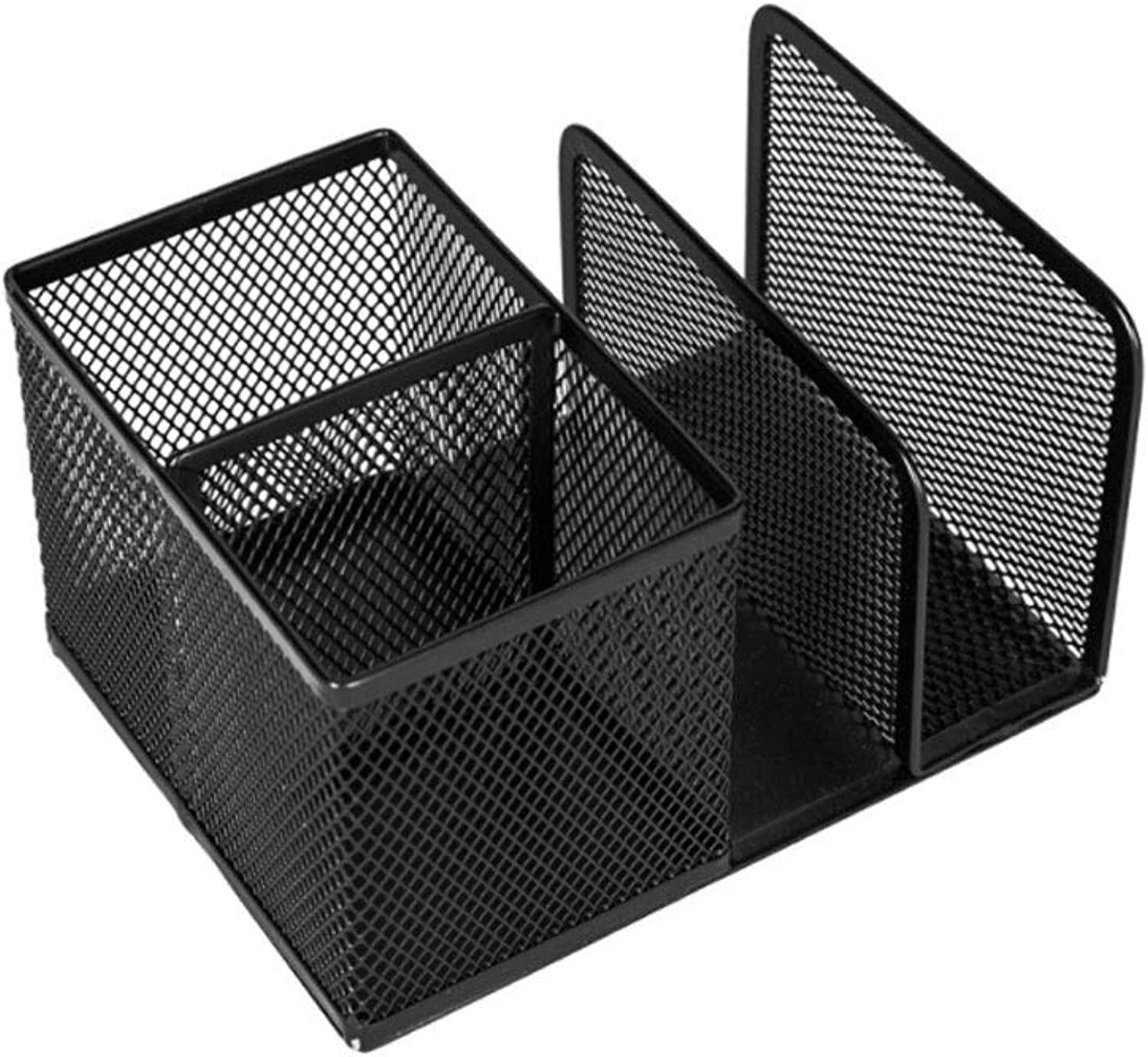PLDDY Crafts Book Stand + Pen Holder Metal Grid Creative Desktop Storage Stationery Home Office Desktop Organizer,4Compartment with,School and Home Use, Black
