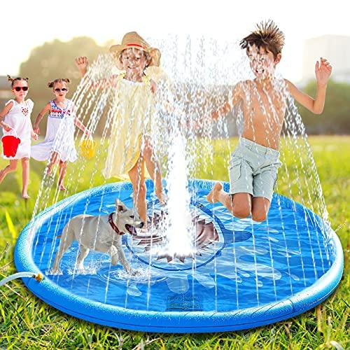 Ansoyi 噴水マット サメ噴水プール プレイマット ビーチマット 夏の日 親子遊び 噴水 おもちゃ ビニールプール 家庭用 子供用 水遊び 子供プール 芝生遊び 夏対策 簡単収納 砂浜おもちゃ