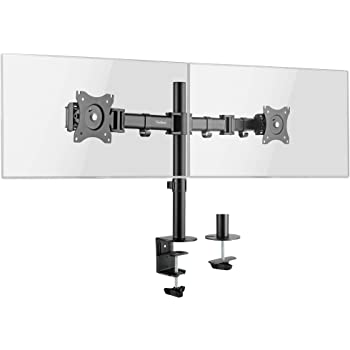 "VonHaus Dual Monitor Mount for 13-27"" Screens - Double Arm Desk Stand Bracket with Clamp - Ergonomic 90° Tilt, 360° Rotation & Twin 180° Swivel Arms - VESA Dimensions: 75x75-100x100"