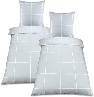 Beautissu 4tlg Biber Bettwäsche 2er Set Ruby Bettbezug 135x200 cm Muster Winterbettwäsche Kopfkissenbezug Bettdeckenbezug Warm Bettbezug in Grau