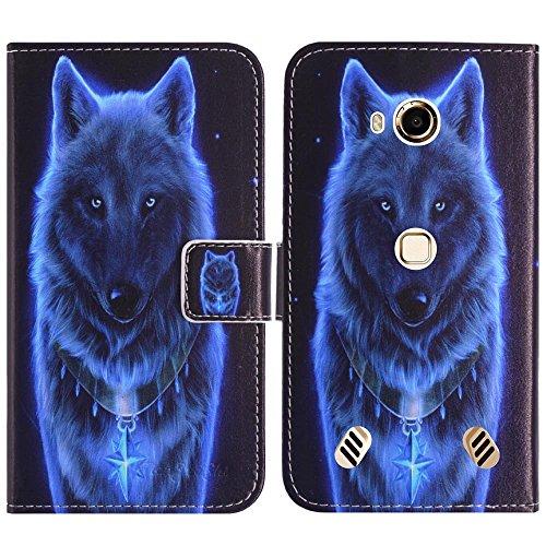 TienJueShi Wolf Flip Book-Style Brief Leder Tasche Schutz Hulle Handy Hülle Abdeckung Fall Wallet Cover Etui Skin Fur Doogee S60 lite 5.2 inch