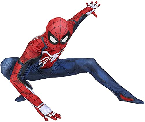 DFRTYE Erwachsene Spider-Man Halloween Cosplay Superheld Verkleidung Kostüm Mask 3D Print Spandex Spiderman Body,Adultrot-L