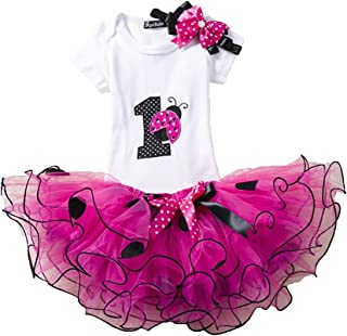 d3455eba3dd1c Ensemble Bébé Fille Anniversaire Set de Vêtements pour Fête pour Fille  1er/2ème Anniversaire 3