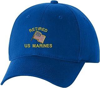 Retired US Marines USA Flag Custom Embroidery Embroidered Baseball Hat Cap 80ec7a18b349