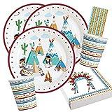 Amscan/Diverse 44-teiliges Party-Set - Indianer Tipi & Tomahawk - Teller Becher Servietten Trinkhalme für 8 Kinder