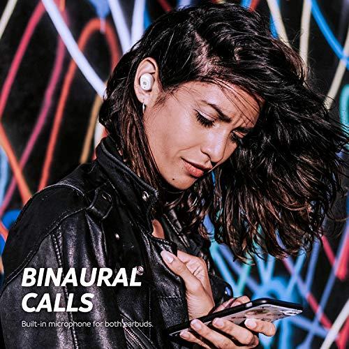 SoundPEATS True Wireless Earbuds 5.0 Bluetooth Headphones in-Ear Stereo Wireless Earphones with Microphone Binaural Calls, One-Step Pairing, Total 35 Hours, TrueFree Plus - White
