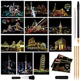 Magic Scratch Art Paper, Mini Envelope Postcard, Rainbow Night View Scratchboard for Adults and Kids, Art & Crafts Set: 12 Sheets Scratch Cards & 7 Tools Drawing Pen, Brush (Classic Building Series)
