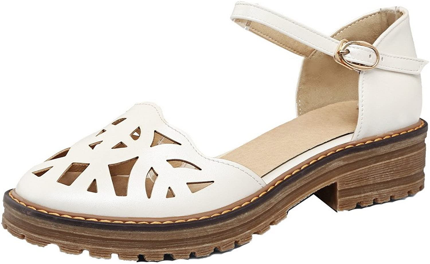 WeiPoot Women's PU Buckle Round-Toe Low-Heels Solid Sandals, EGHLH005590