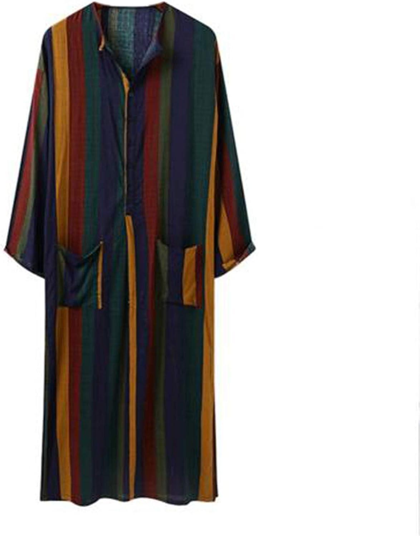 WLOPE Men Muslim Islamic Arabic Kaftan Striped Jubba Thobe Button Saudi Arabia Abaya Dress