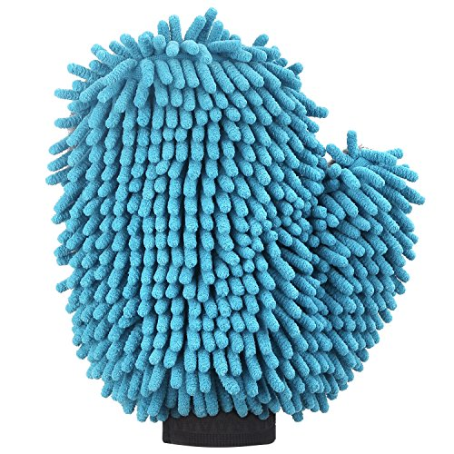 Pawaboo Pet Grooming Mitt, Highly Absorbent Dog Towel Mitt / Car Wash Mitten / Dog Bath Glove , Blue