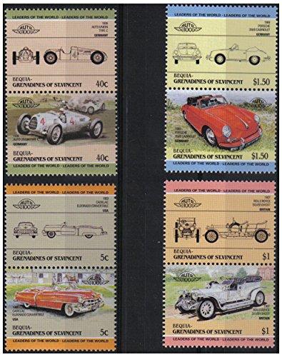 Auto 100 prima Automobiles Serie 4 auto d'epoca coppie bollo automobilistico / Bequia Grenadines di St. Vincent / 1984 / MNH
