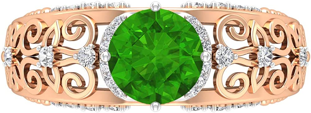Rosec 67% OFF of fixed price Jewels - 1.73 CT Lab Excellent with Ring Created Solitaire Tsavorite