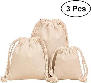 OUNONA 3pcs Reusable Multipurpose Linen Canvas Storage Bag Travel Stuff Bags Organizer Packing Bag Organizer with Drawstring (Assorted Size)